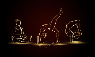 Yoga poses set. Golden linear yoga illustration for sport banner, background and flyer.