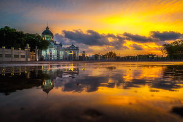 Ananta Samakhom Throne Hall with reflection in water in twilight time, Dusit Palace, Bangkok, Thailand