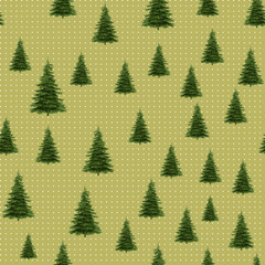 Seamless Merry Christmas Festive Pattern with Tree