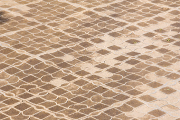 Background pattern, texture. Lattice plastic flooring. Grid paving road