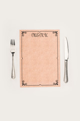 decorative menu and cutlery