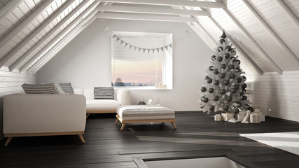 Loft living room with Christmas tree and presents, white and gray scandinavian minimalist interior design