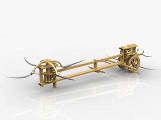 Assault chariot with scythes, Leonardo da Vinci, Biblioteca Reale, Turin/15583r
