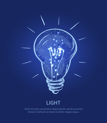 Light Electric Bulb and Text Vector Illustration