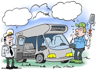 Cartoon illustration of a man who gets checked his camper