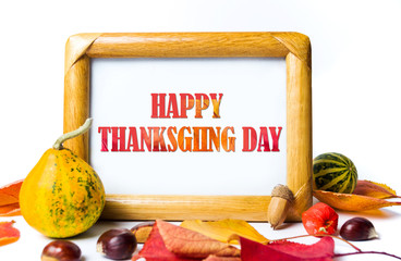Thanksgiving day background with with note