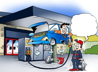 Cartoon illustration of a car that gets a wheel shift at a gas station