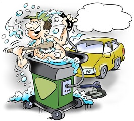 Cartoon illustration of a happy mechanic who takes a bath in a clean water machine at the workshop