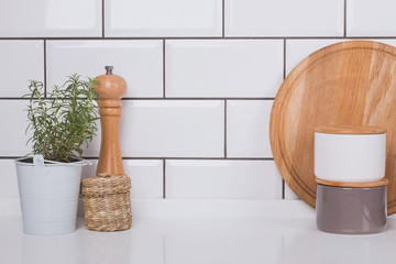 Kitchen interior with white brick tile