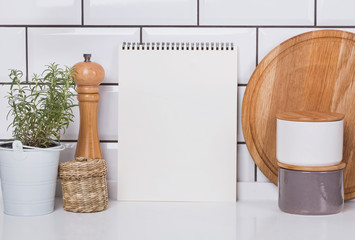 Paper mock-up in modern kitchen with white brick tile
