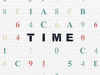 Timeline concept: Painted black text Time on White Brick wall background with Hexadecimal Code