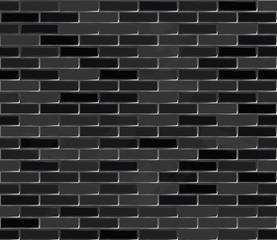 Brick wall black seamless texture.