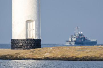 WARSHIP - Ship, breakwater and navigation sign