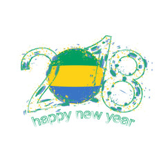 2018 Happy New Year Gabon grunge vector template for greeting card and other.