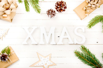 New Year composition on a wooden table. Christmas background. Flat lay.Top view