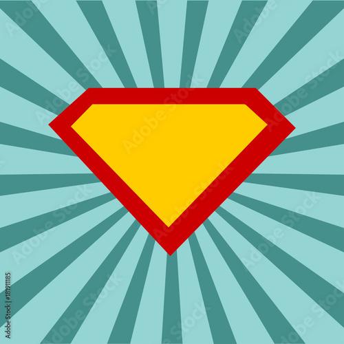 superhero logo template at comic sunburst background with dots