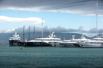 Luxury motorboats and yachts at the dock.Marina Zeas, Piraeus,Greece