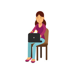 Teen girl in casual clothes sitting on a chair working with laptop, female student using electronic device vector Illustration