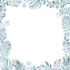 Watercolor frame of different branches. A decoration for greeting card. Put your text inside the frame.