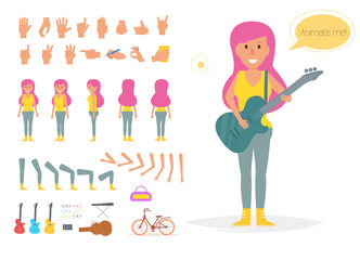 Hipster woman for animation.
