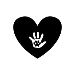 Baby handprint with pet paw print on the palm inside of black heart icon