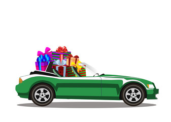 Green modern cartoon cabriolet car full of gift boxes isolated on white background.