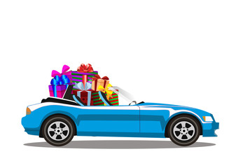Light blue modern cartoon cabriolet car full of gift boxes