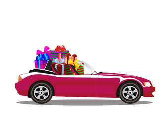 Purple modern cartoon cabriolet car full of gift boxes isolated on white background.