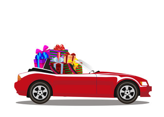 Red modern cartoon cabriolet car full of gift boxes isolated on white background.
