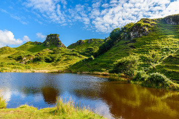 The very green nature of the Mystic Fairy Glen in the Isle of SKye, Scotland