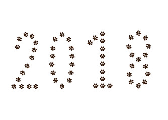 Numeral 2018 made of animal pawprints track isolated on white background.