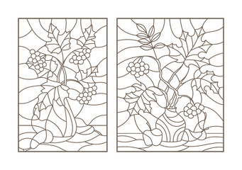 Set contour illustrations of stained glass with autumn still life, tree branches in vases and fruit