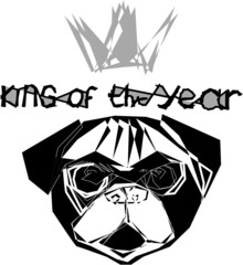 The symbol of the year 2018 is the dog in the crown of the king of the year vector