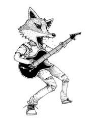 guitarist fox in action doodle art