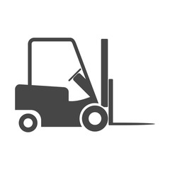 Forklift icon, Forklift truck side and front silhouette