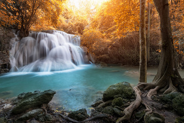 Printed roller blinds Waterfalls Huay Mae Kamin Waterfall, beautiful waterfall in autumn forest, Kanchanaburi province, Thailand