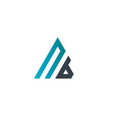 Initial Letter NB Linked Triangle Design Logo