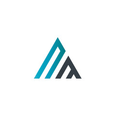 Initial Letter NM Linked Triangle Design Logo