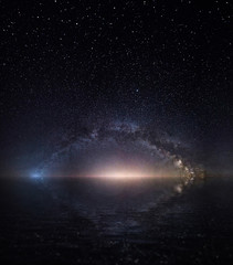 Milky way and starry sky. panorama of the night sky