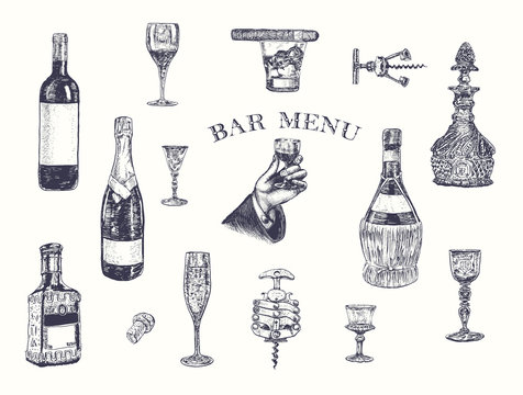 Hand holding a glass of alcohol drink. Hand drawn vector illustration with wine bottle, champagne, glass, tequila, decanter, glass of whisky and cigar, stopper, stopper, corkscrew. Vintage engraving
