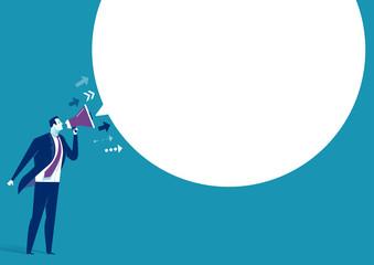 The Message. Businessman communicates through a megaphone. Concept business illustration