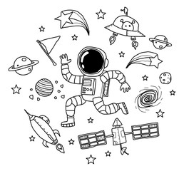 astronaut in the space doodle art