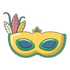Carnival mask icon, cartoon style