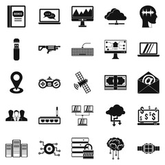 Modern entertainment icons set, simple style