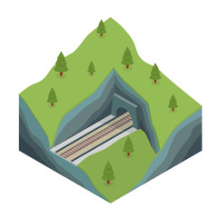 Isometric train tunnel in the rock.