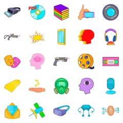 Video game icons set, cartoon style