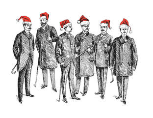 Christmas retro party. Celebrating New Year. Group of people in red Santa's hat Vintage Hand Drawn Gentleman Set. Men's clothing. Retro Illustration in ancient engraving style