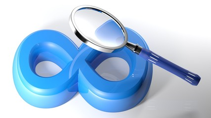 Magnifier on blue Infinite symbol - 3D rendering