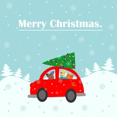 Merry Christmas card. The machine gives a Christmas tree to decorate the house. Colorful vector illustration for the winter holidays. You can use for small and medium enterprises Christmas cards.