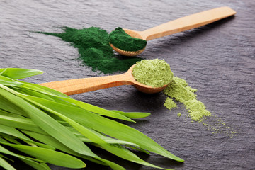 Chlorella and wheatgrass supplement.